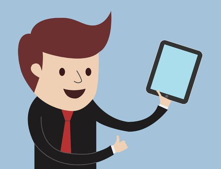 Business Man - Thumbs Up With Tablet  and presentation Vector