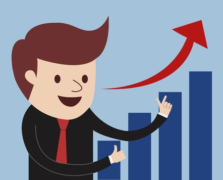 rising graphic: businessman proudly present growing business statistics  Business concept  Vector