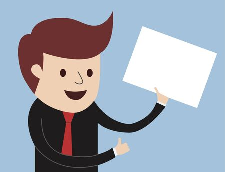 Business Man - Thumbs Up with white board and presentation Vector