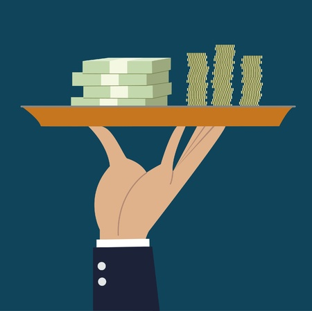 business hand hold tray with money stack Vector