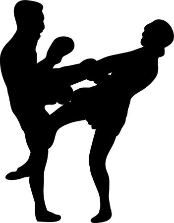 Muay Thai (Thai Boxing) fight silhouettes Vector