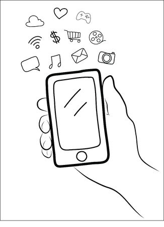 hand holding a smart phone Stock Vector - 21567315
