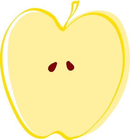 drawing apple slice  Vector