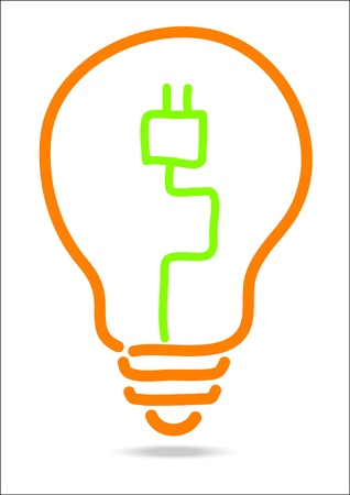 hand draw light bulb plug in side  Vector