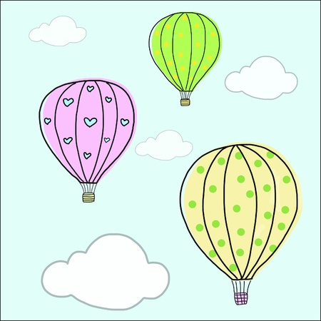 hand draw vintage balloon  Vector