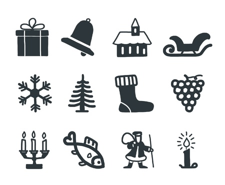 Christmas and Winter icons collection - silhouette  Vector