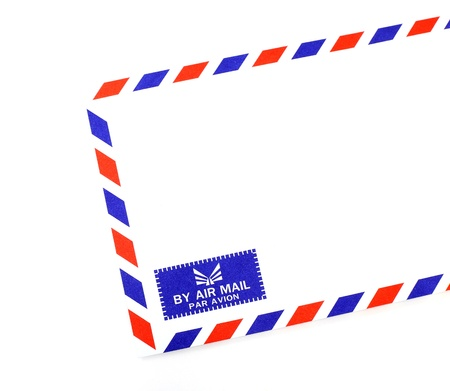 air mail: Envelope air mail on white background Stock Photo