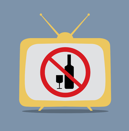not permitted: No alcohol sign on tv