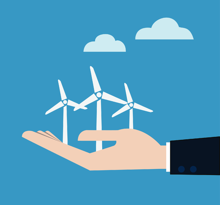 ecology concept with hand give wind power station.  Vector