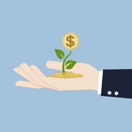 money growth in hand investment concept Vector