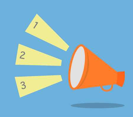 loudhailer: Vector megaphone speech templates for text or infographic Illustration