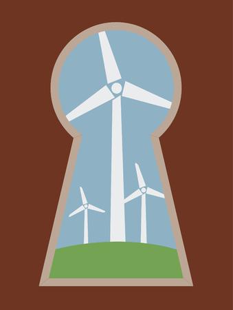 wind turbine landscape seen through a keyhole  Vector