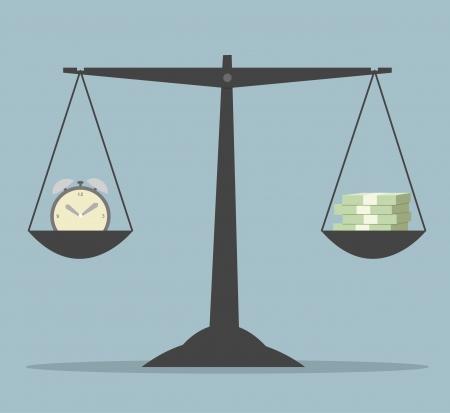 balanza en equilibrio: El tiempo es dinero concepto de negocio Ilustración de vector eps10