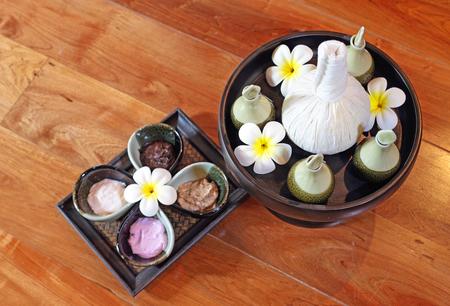 spa massage cream and oil setting Stock Photo - 23447322