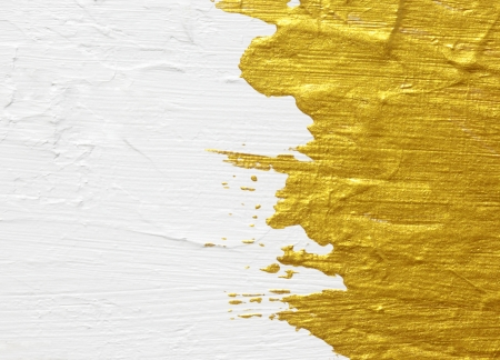 White and gold acrylic textured painting background Standard-Bild