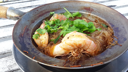 vermicelli: Shrimp potted with vermicelli in Thailand  Stock Photo