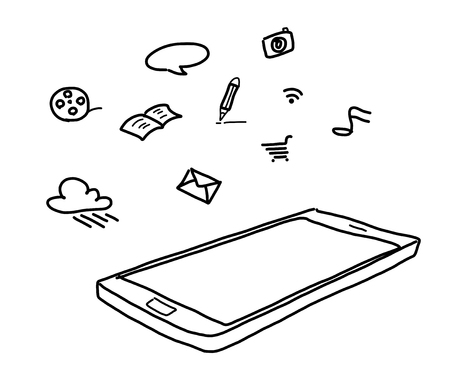 hand drawing smart phone with social media concept  photo