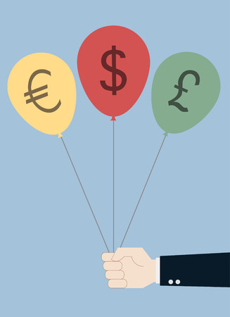 hand with currency sign balloons vector Vector