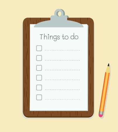 Clipboard with to do list on paper and pencil vector Vector