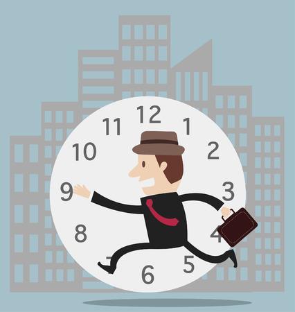 시간 벡터에 대한 사업 실행 레이스 일러스트