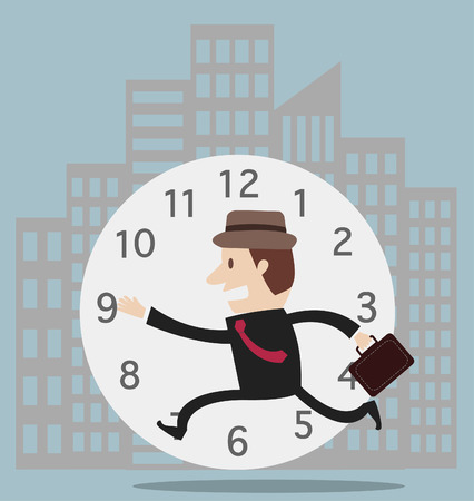 Businessman running race against time vector