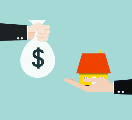 sell house: hand bring money for home  Illustration