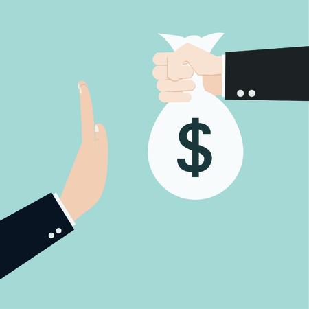 remuneraciones: Empresario negarse el vector soborno ofrecido Vectores