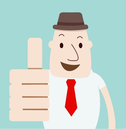 happy employee: man Thumbs Up vector