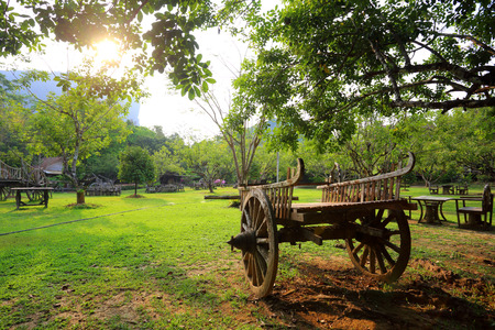 old wood farm wagon: Old Wooden Cart in garden