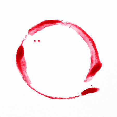 hand-painted red circle water color on white background photo