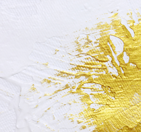 White and gold acrylic textured painting background  Stock Photo
