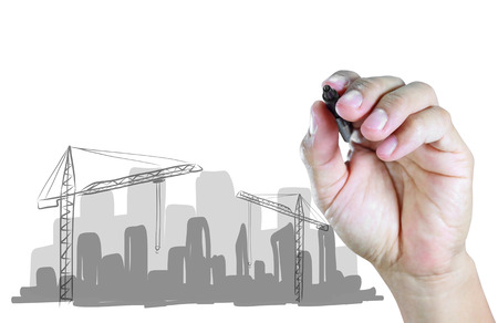 hand draw construction site on white background photo