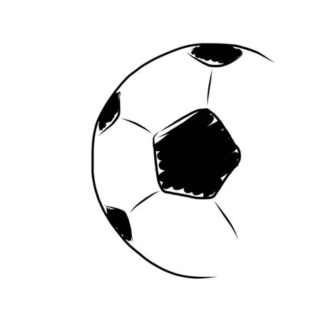 hand draw soccer ball on white photo