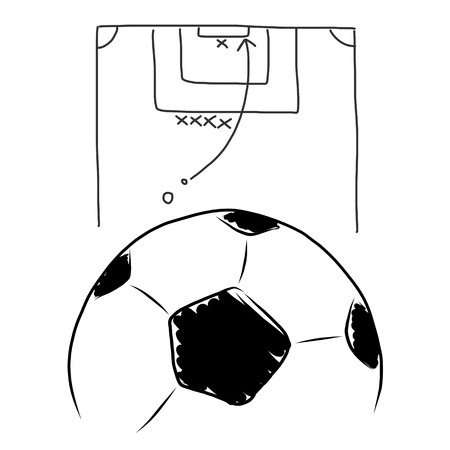 Strategy soccer free kick , hand draw on white photo