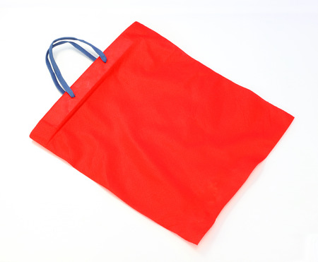 fabric bag: red fabric bag isolated on white background