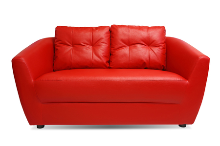 Red Sofa isolated on white background with clipping path  photo
