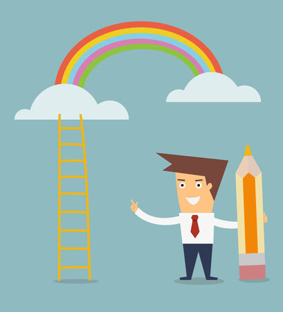 man draw ladder to rainbow concept of success