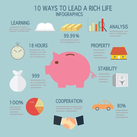 piggy bank concept saving infographics Vector