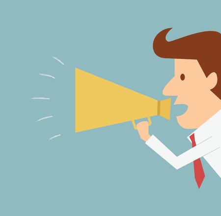 announcing: man announcing through megaphone advertising
