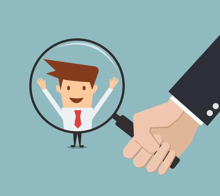 사람 검색을위한 비즈니스 사람 손 돋보기를 들고. 모집 또는 선택의 개념입니다.