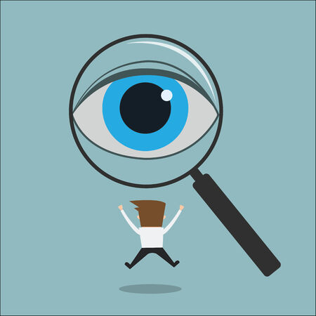 finding: eye looking through a magnifying glass finding man Recruitment or selection concept.  Illustration