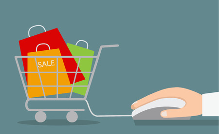Hand with computer mouse and shopping cart with sale. Vector