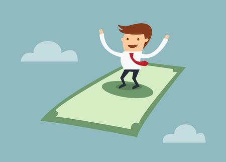 economist: Businessman flying on a dollar bill concept of financial freedom