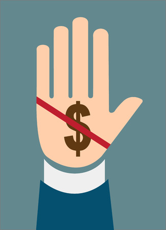 spoof: hand stop dollar sign concept of Corruption  Illustration