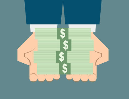 business hand: business hand holding stack money