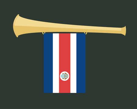 noise maker: noise maker Vuvuzela with costa rica flag Illustration