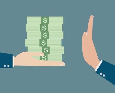 bestechung: Gesch�ftsmann die Ablehnung der angebotenen Bestechungs Vektor