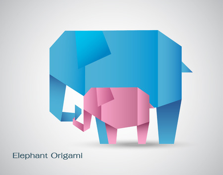 origami elephant mother and son Vector