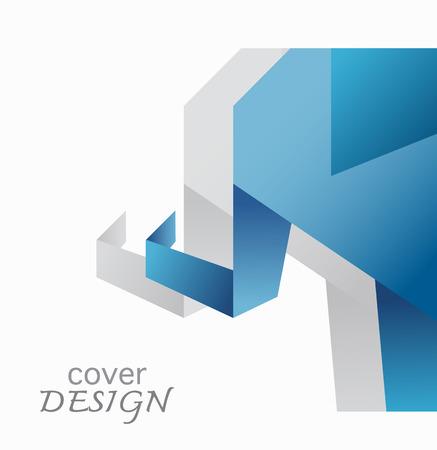 blue origami elephant cover annual report design  Vector
