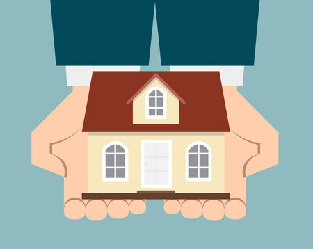 business man hand holding up a house  Vector